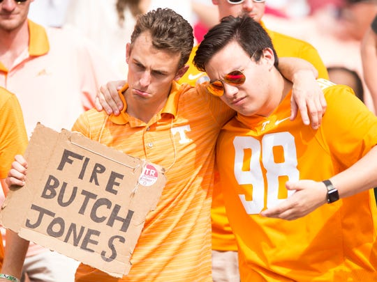 Tennessee fans hold homemade during Tennessee's game against Alabama at Bryant Denny Stadium in Tuscaloosa on Saturday, Oct. 21, 2017.