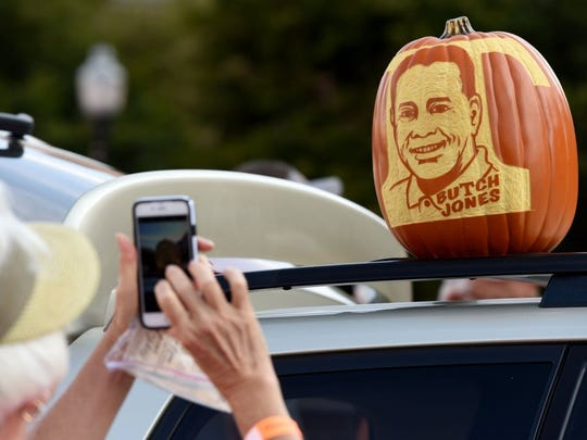 Ken Clayton of Fountain City carved the likeness of Butch Jones into a foam pumpkin on display during the Vol Walk outside Neyland Stadium on Sept. 17, 2016. He has no plans to carve a pumpkin of current UT Coach Jeremy Pruitt.