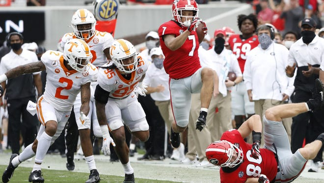 Georgia wide receiver Jermaine Burton (7) during the Bulldogs' game with Tennessee in Athens, Ga., on Saturday, Oct. 10, 2020..