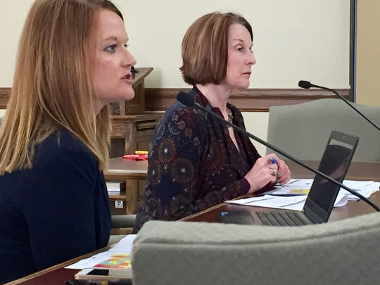 Erica Johnston, left and Sheila Hogan of the Department of Public Health and Human Services appear Thursday before a state panel.