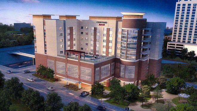 An architect's rendering of the planned 151-room Marriott Courtyard Urban hotel in Downtown El Paso.