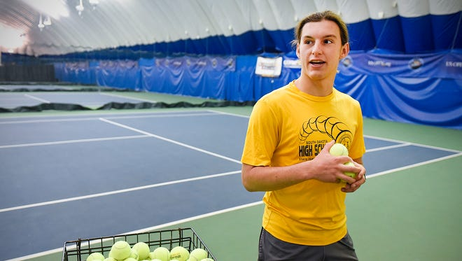 St. Cloud State University tennis player Jacob Cersosimo talks about the decision to cut the men's and women's programs during practice Tuesday, May 3, at Fitness Evolution in Sartell.