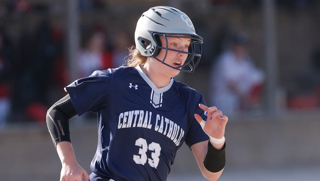 Central Catholic junior Nikita Robbins singles against West Lafayette on Wednesday, her 24th hit in 36 at bats this season.