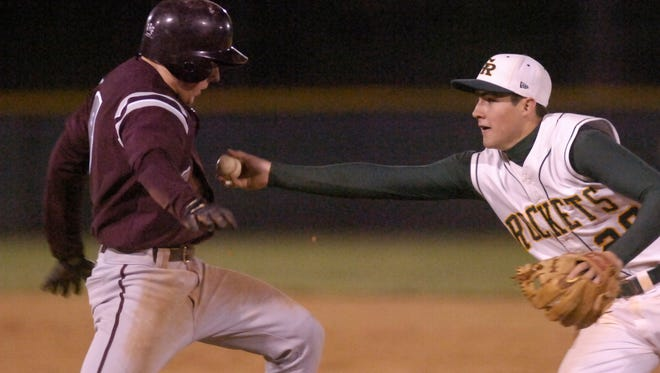 Reynolds alum John Hinson tags out a South Caldwell baserunner during a 2006 Northwestern Conference game between the two teams.