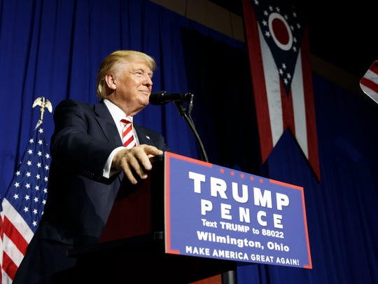 Republican presidential candidate Donald Trump pauses while speaking during a campaign rally, Thursday, Sept. 1, 2016, in Wilmington, Ohio.
