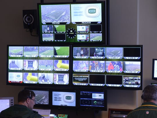 Rows of monitors fill the Green Bay Packers production