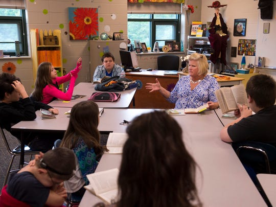 "Annie Alcorn, a special education teacher at Castle South Middle School, keeps her students, who are reading Lois Lowry's ""Number the Stars,"" interested and present by asking questions routinely throughout their class Thursday, April 27, 2017."