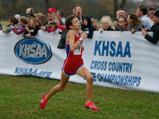 Christian Academy of Louisville Addi Dewey finishes in third during the KHSAA Class 2A cross country state championship at Kentucky Horse Park on Saturday, Nov. 4, 2017 in Lexington, Ky.