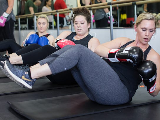 Sweat Therapy Fitness boxing workout  participants
