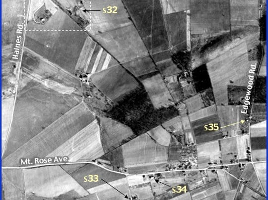 'Enlarged View A' of Penn Pilot Aerial Photo, from Mar. 19, 1938, of Area in Springettsbury Township near Longstown (Annotations by S. H. Smith, 2015)