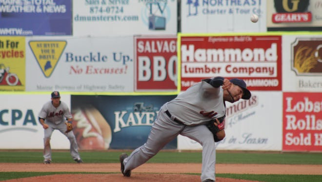 Binghamton's Jon Velasquez throws a pitch in the eighth inning Saturday as the B-Mets beat Portland 11-4 to force a deciding Game 5 in the Eastern League playoff series.