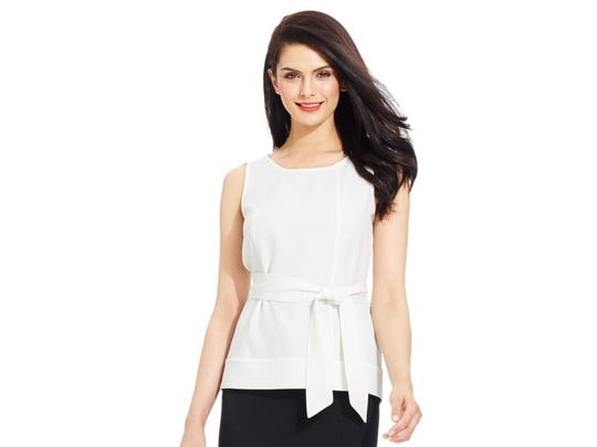 Hip-length blouse with self-tie belt by Kaspar. $69 at Macy's. To check local availability or shop online: www.macys.com.