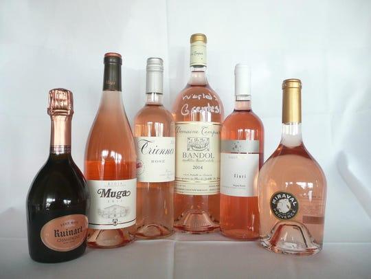 (L-R) NV Dom Ruinart Rosé, Champagne, France, 2013