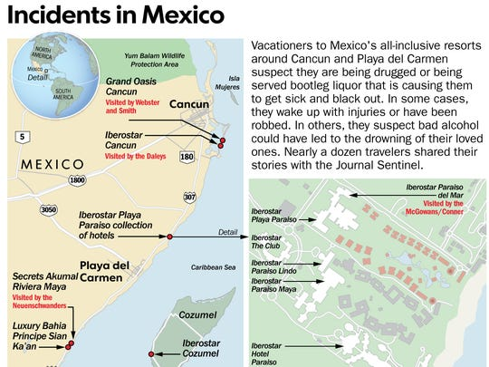 The Milwaukee Journal Sentinel compiled some of the reports of tainted alcohol at all-inclusive resorts in Mexico based on travelers who reached out to the newspaper.