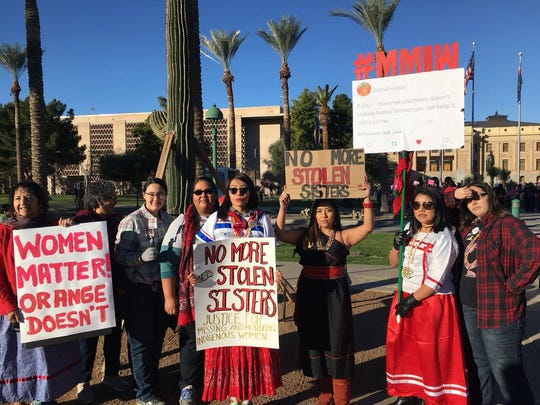 Arizona indigenous women are gathering before the Women's March in Phoenix on Sunday, Jan. 21, 2018, to raise awareness about missing and murdered indigenous women.