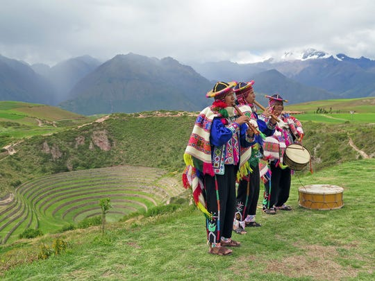 Moray in the Sacred Valley, a circular Inca archaeological site, is an inspiration for Peru's mazelike tourism logo.