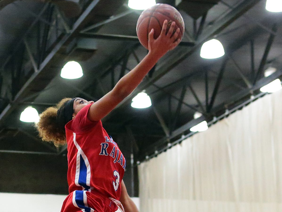 Indio's Kelcey Beckham (3) goes for a layup against Palm Springs during a Desert Valley League girls basketball game on Wednesday, January 14, 2015 in Palm Springs. Indio won, 57-44, and remain undefeated in league play. Beckham scored 22 points for the Rajahs.
