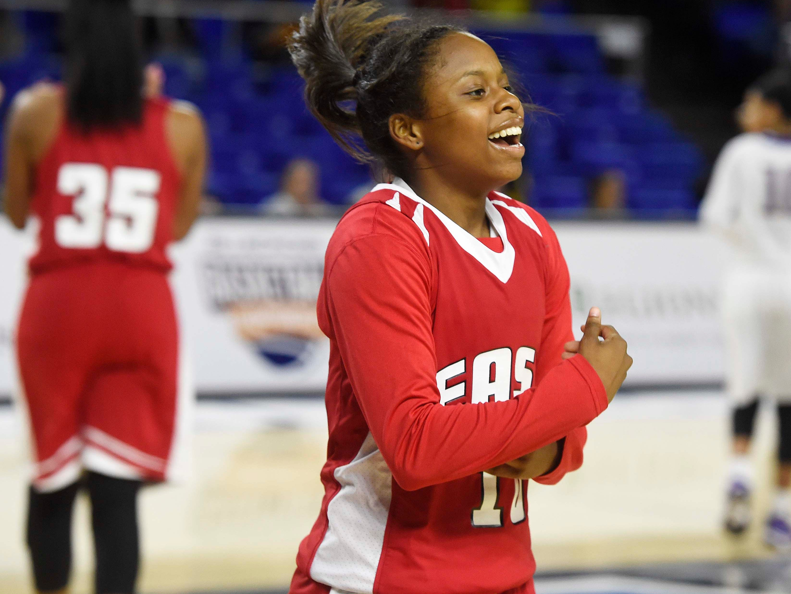 East's Le'Jzae Davidson (10) celebrates a victory as East Nashville wins 47-35 in the Division I Class AA Girl's basketball tournament at the Murphy Center on MTSU's campus March 10, 2016 in Murfreesboro, Tenn.