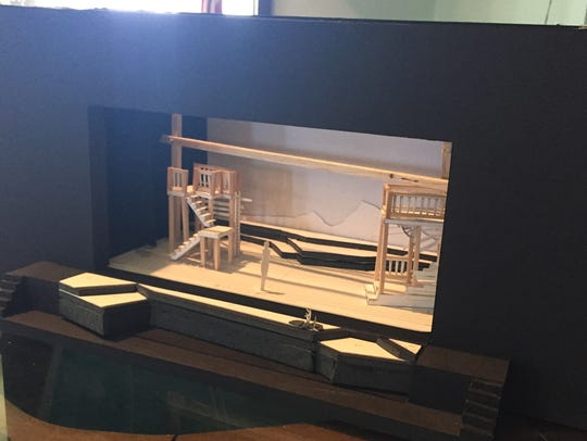 """A model of the set layout for """"No Greater Love,"""" which"""