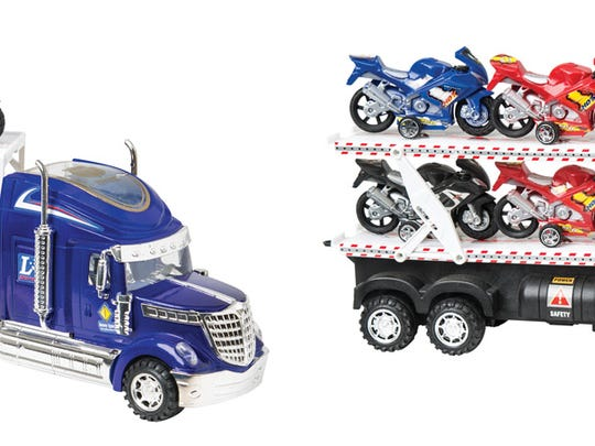 Plastic Wheelies semi-truck with six motorcycles toy and Wheelies push-along motorcycle toys contain excessive levels of lead, which is a violation of the federal standard for lead content.