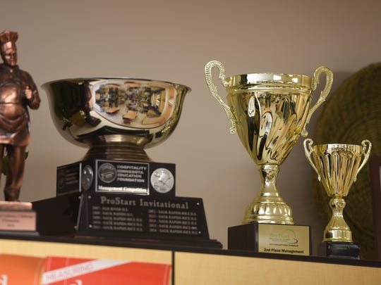 Awards earned by the culinary management team are displayed Wednesday, March 15, at Sauk Rapids-Rice High School.