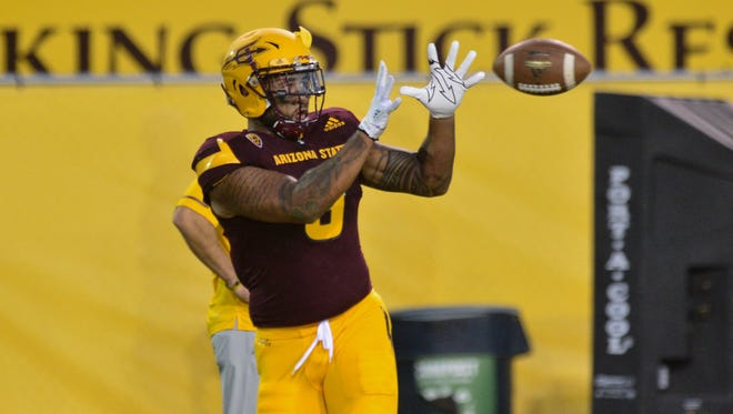 Arizona State tight end Jay Jay Wilson switched to defense at practice on Sept. 19, 2017.