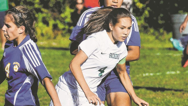 Spackenkill's Julia Kollesar controls the ball during her team's match against Ellenville Monday in the Town of Poughkeepsie.