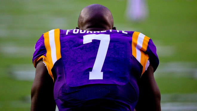 LSU Tigers running back Leonard Fournette (7) is shown before a game against Western Kentucky at Tiger Stadium.
