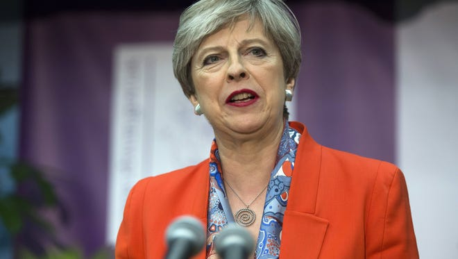 British Prime Minister Theresa May delivers a victory speech at the Magnet Leisure Centre after being declared the winner of the vote in the constituency of Maidenhead, England, on June 9, 2017.
