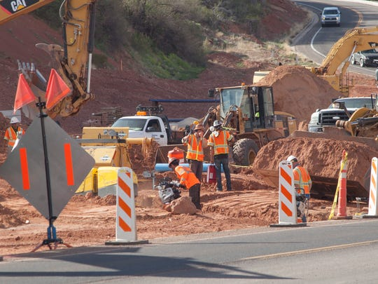 Construction continues on Bluff Street in St. George Thursday, April 5, 2018.
