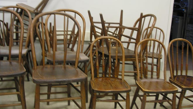 More than 20 Sheboygan Chair Company chairs from the early 1900s were recently discovered in an abandoned cubby-hole under a set of stairs leading to the upstairs portion of Our Savior's Lutheran Church.