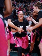 Michigan State's Tori Jankoska is introduced before