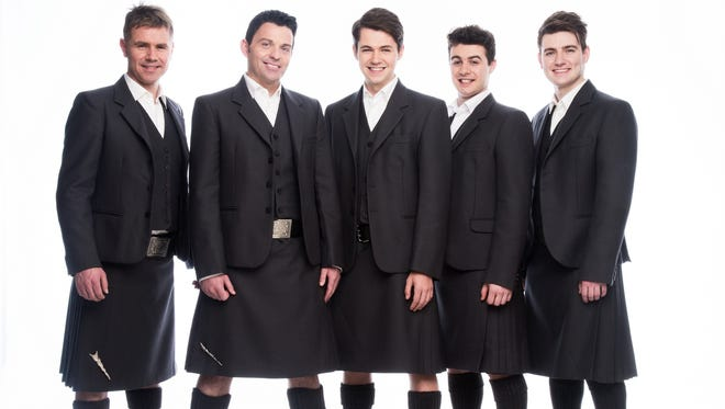 The men of Celtic Thunder, from left: Neil Byrne, Ryan Kelly, Damian McGinty, Michael O'Dwyer and Emmet Cahill.