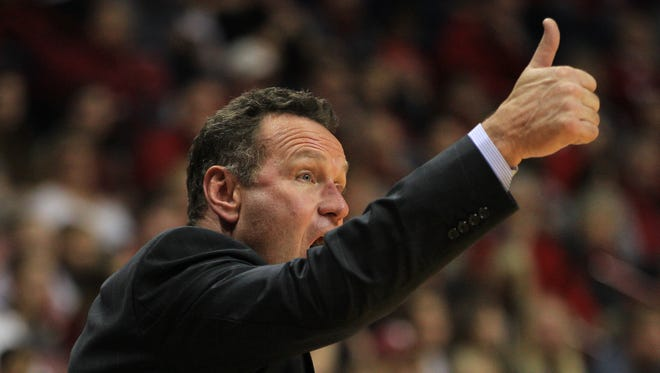 Dec 13, 2014; Bloomington, IN, USA;  Grand Canyon Antelopes head coach Dan Majerle reacts during the second half against the Indiana Hoosiers at Assembly Hall.