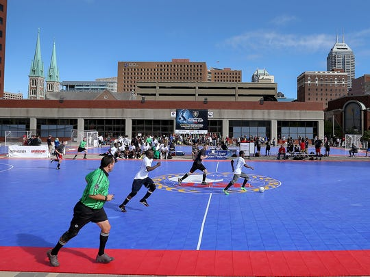 Hundreds of Futsal players gathered for Sunday's Mayor's International Futsal Cup on in Downtown Indianapolis. Here Nigeria plays Germany in the knockout round.