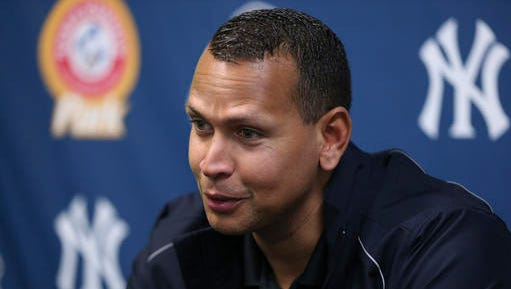 New York Yankees third baseman Alex Rodriguez answers a question after a minor league rehab start for the Trenton Thunder against the New Hampshire Fisher Cats  on Wednesday, May 25, 2016, in Trenton, N.J. (AP Photo/Mel Evans)