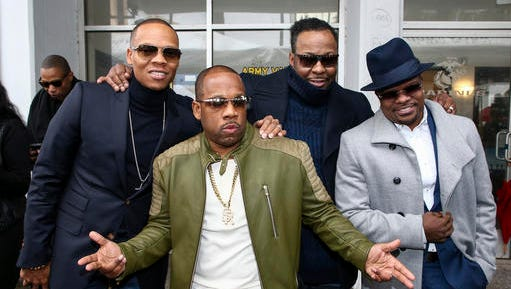 Ronnie DeVoe, from left, Michael Bivins, Bobby Brown and Ricky Bell attend a ceremony honoring New Edition with a star on the Hollywood Walk of Fame on Monday, Jan. 23, 2017, in Los Angeles.