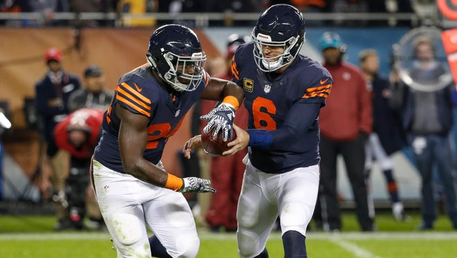 Bears running back Jordan Howard, left, is coming off his best game of the season in Week 8, when he rushed for 153 yards and a touchdown against the Minnesota Vikings.