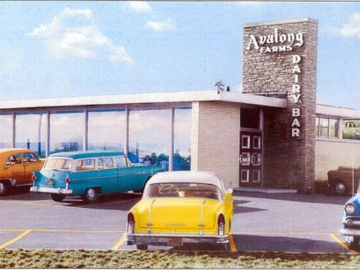 Avalong's Dairy Bar, depicted in a mural here, was