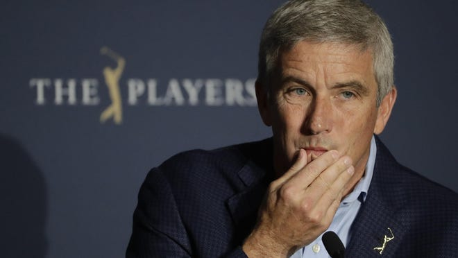 PGA Tour Commissioner Jay Monahan is shown during a news conference in Ponte Vedra Beach, Fla., in March