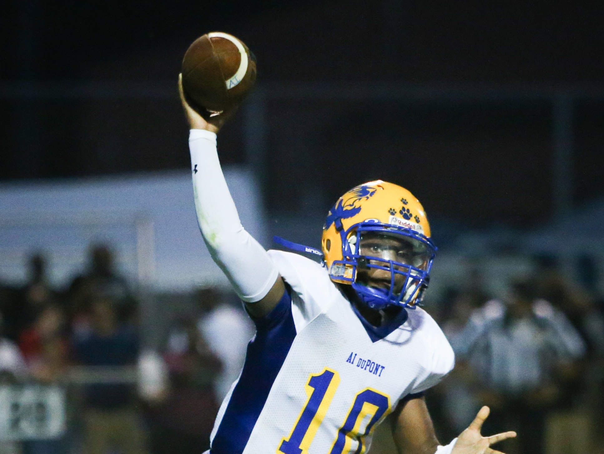 A.I. du Pont quarterback Chad Jones, seen here against Sussex Tech, completed 17 of 25 passes for 184 yards with two second-half TD tosses.