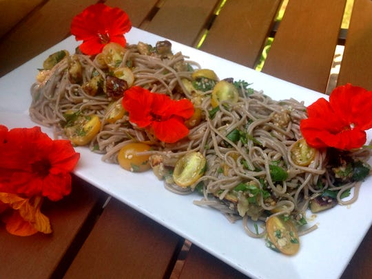 Gluten-free buckwheat soba noodles are joined by eggplant,