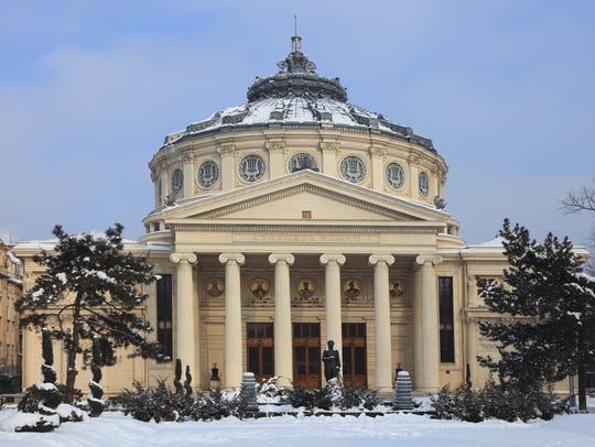 The Romanian Athenaeum concert hall in Bucharest.