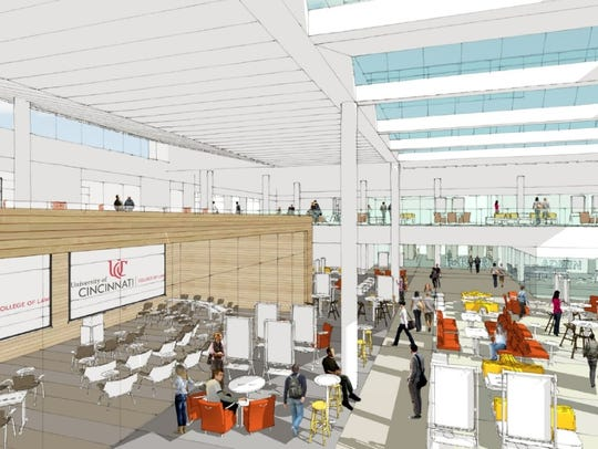 A new high-ceilinged addition to Lindner Hall would