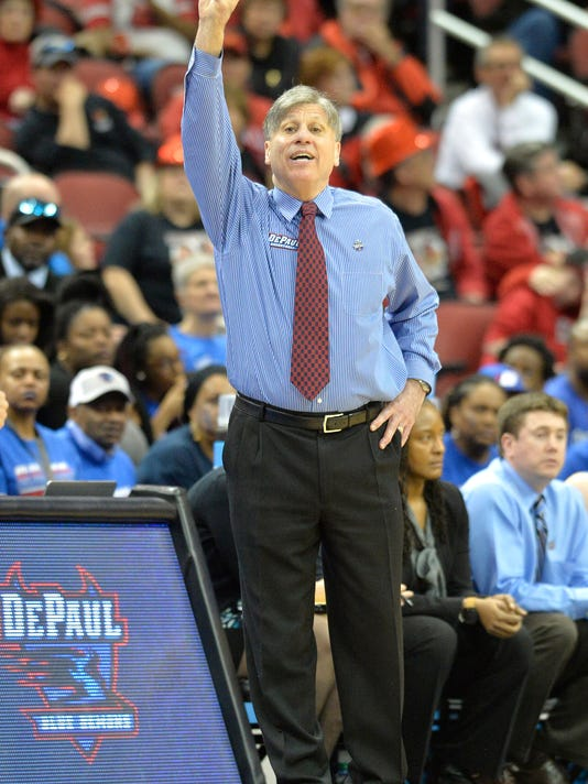 DePaul head coach Doug Bruno shouts instructions to his team during the second half of a second-round women's college basketball game in the NCAA Tournament in Louisville, Ky., Sunday, March 20, 2016. DePaul won 73-72. (AP Photo/Timothy D. Easley)