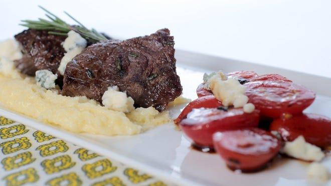 Rosemary Steak Tips with Gorgonzola Polenta