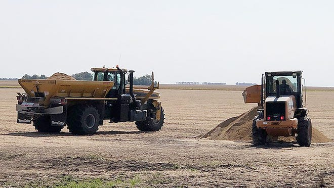 Fertilizer is applied to a field south of Fairbury recently.