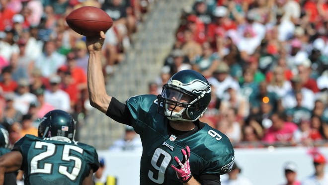 Quarterback Nick Foles of the Philadelphia Eagles releases a pass in the third quarter against the Tampa Bay Buccaneers Oct. 13 at Raymond James Stadium in Tampa, Florida.