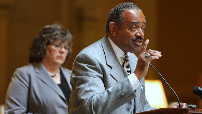 Rep. Vernon Smith, D-Gary,  objects to proposed teacher licensing rule during a news conference Thursday at the Statehouse.