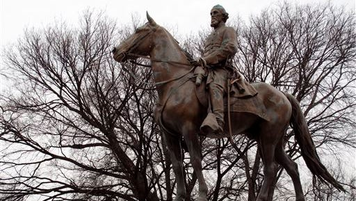 FILE - In this Feb. 6, 2013 file photo, a statue of Nathan Bedford Forrest sits on a concrete pedestal at a park named after the confederate cavalryman in Memphis.